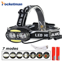 Rechargeable LED Headlight 4*T6 headlamp+2*COB+2*Red Riding light Head Lamp 7 modes Flashlight Use 2*18650 battery for Cycling sezk20 best t6 2 r5 13000 lumen led headlamp 4 modes headlight camping hunting head light lamp 2 18650 battery ac charger