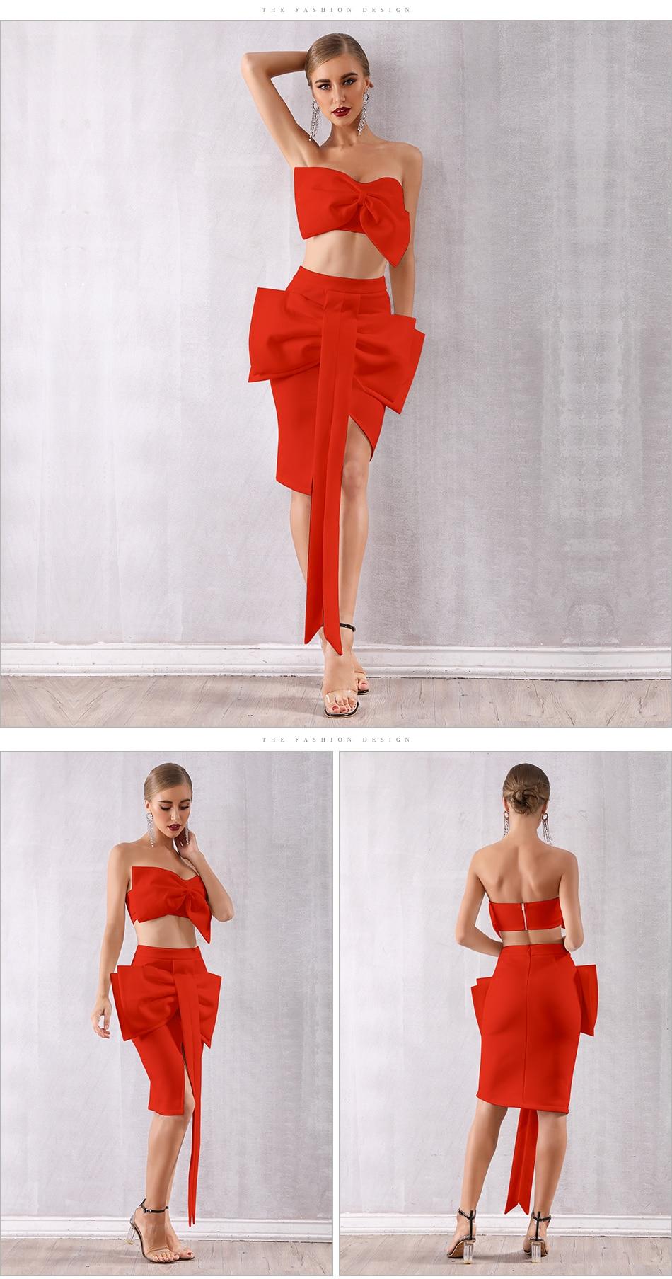 Adyce Celebrity Evening Party Dress Women 19 Sexy Bodycon Sets Strapless Ruffles Sleeveless Bow Red Black Club Dress Vestidos 9