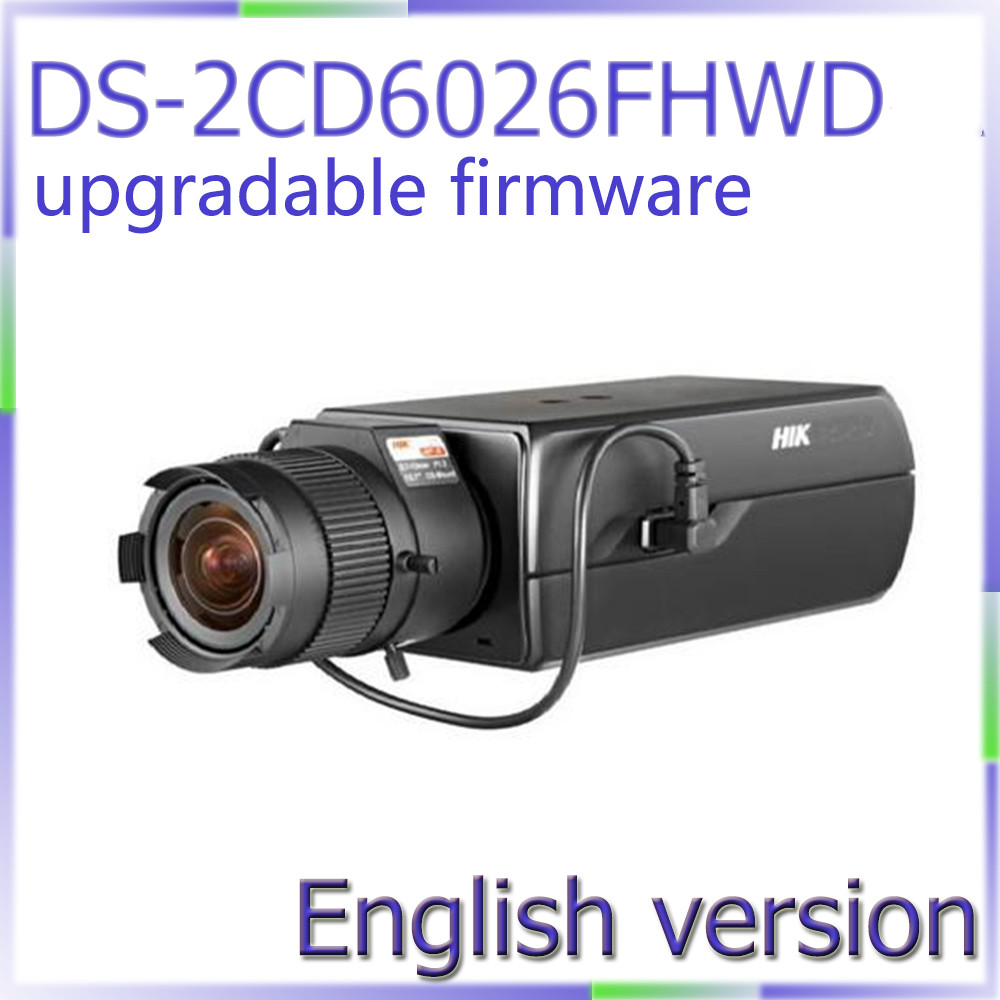 Free shipping English version DS-2CD6026FHWD 2MP Ultra Low-light Box CCTV Camera POE, smart face detection, built-in mic hikvision ds 2df8223i ael english version 2mp ultra low light smart ptz camera ultra low illumination dark fighter