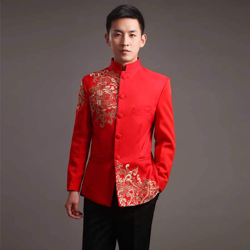 b8e9bf298 Modern Cheongsam Top Vestido Oriental Traditional Groom Qipao Red  Embroidery Chinese Clothes Men Tunic Suit Traditionnel