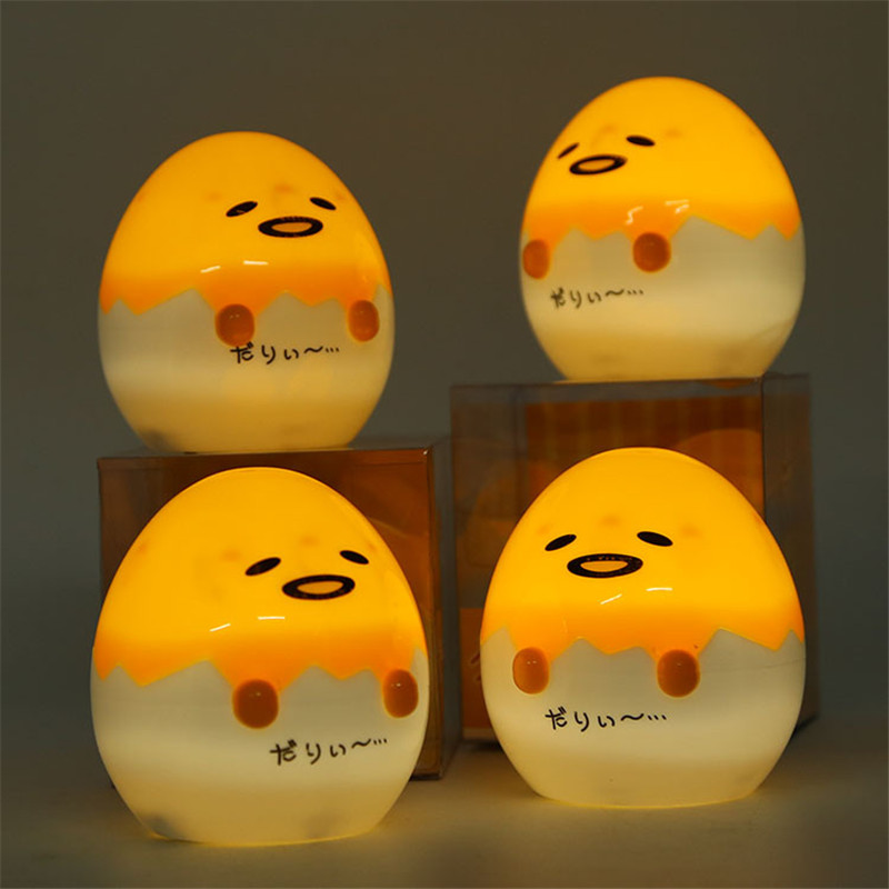 Anime Japanese Gudetama Egg Light-Up Juguetes Lazy Egg Gudetama PVC Action Figure Brinquedos Kids Toys Sleep Night Light