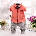 Niños Ropa de Bebé Niña Trajes Set 2016 la Primavera y El Otoño marca de Ropa de Los Niños Muchachos Del Niño Gafas Pajarita Camisa + pantalones