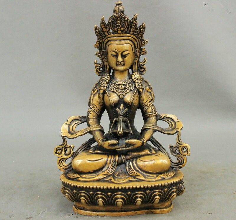 Тибетский буддистский храм чистая бронза Амитаюс долголетия бог статуя божества Будды