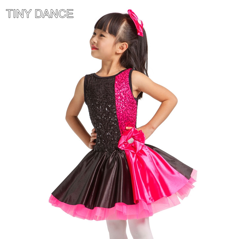 In Stock Child Performance Hot Pinkblack Sequin Dress -4041