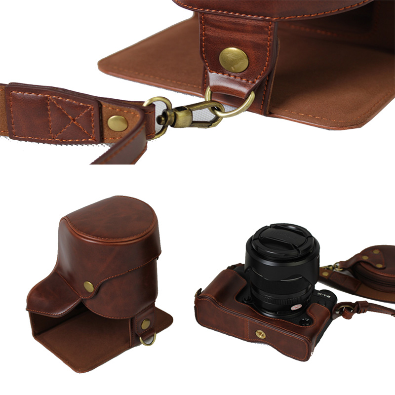 New Luxury PU Leather Camera Case Bag For FUJI XT2 Fujifilme XT2 fit 16-50/18-55/18-135mm lens With Strap Open battery design lens focus motor 18 55mm 18 105mm 18 135mm 16 85mm 18 55 18 105 18 135 16 85 mm ultrasonic motor camera repair parts for nikon