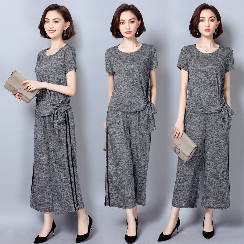 YICIYA 2 Piece Set Outfit Tracksuit Sportswear Co-ord Set For Women 2019 Summer Plus Size Large Striped Top And Pants Suits Gray