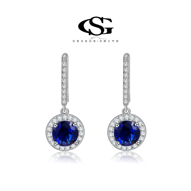 George Smith Women Dangle Earrings Shiny Royal Blue Stones Female Ear Pendant Clic Simple Lady