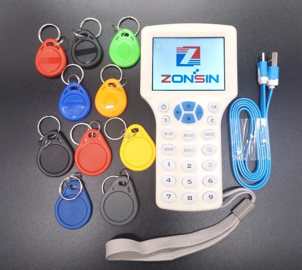 Inglés Super portátil Rfid NFC copiadora lector y escritor de clonador 10 frecuencia + 5 uds 125khz llaveros + 5 uds 13,56 mhz UID llaveros 125KHz RFID duplicador copiadora escritor programador lector escritor Tarjeta de Identificación Cloner & key