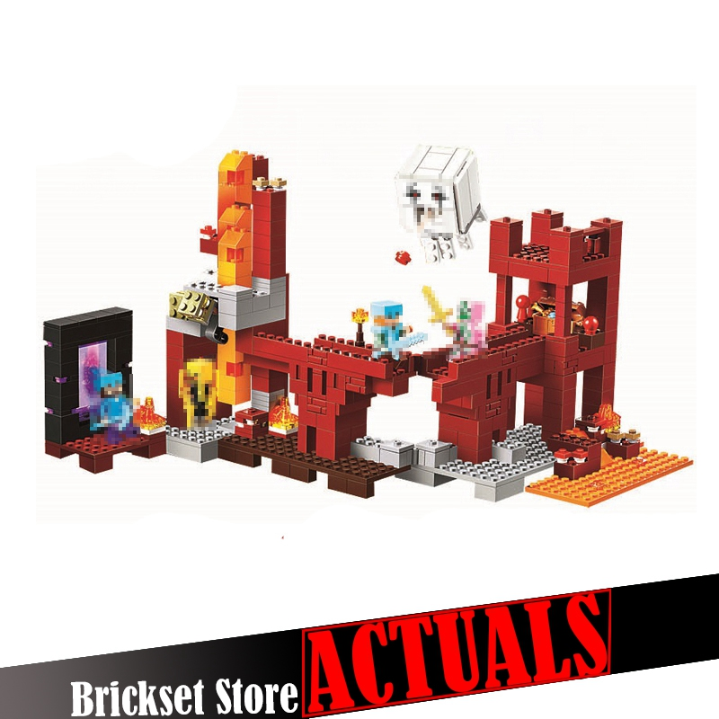 Classic My World Minecraft the Nether Fortress Building Blocks Bricks educational toys for children brinquedos lele bela 21122 lele 2017 new technic compatible legoinglys minecrafter the nether railway building blocks my world educational toys 402 pcs
