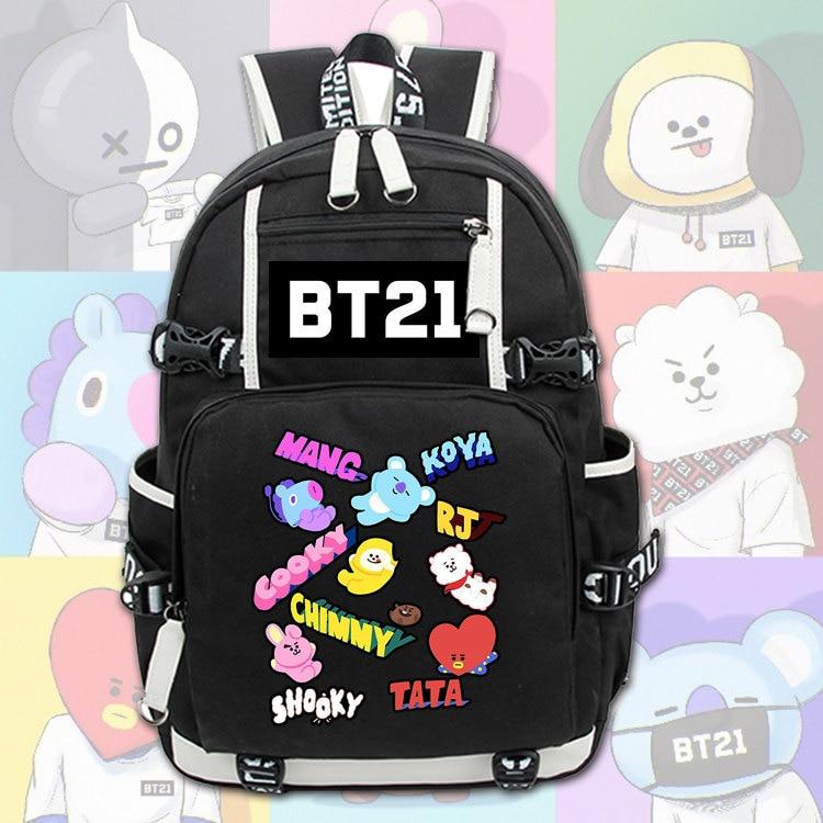 New Backpack BTS BT21 TATA SHOOKY Cartoon Backpack Women Men Laptop Shoulders Bags Boys Girls School Bags