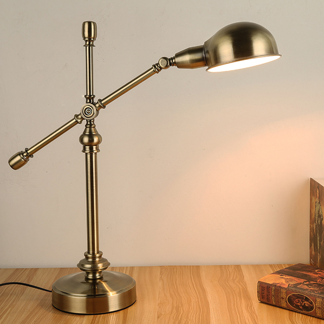 School Retro Decorative Table Lamps Primitive Desk Reading Lamp Library  Study Room Desk Light Iron Work