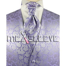New arrival free shipping Men's Suit Tuxedo Dress lavender Vest (vest+ascot tie+cufflinks+handkerchief)