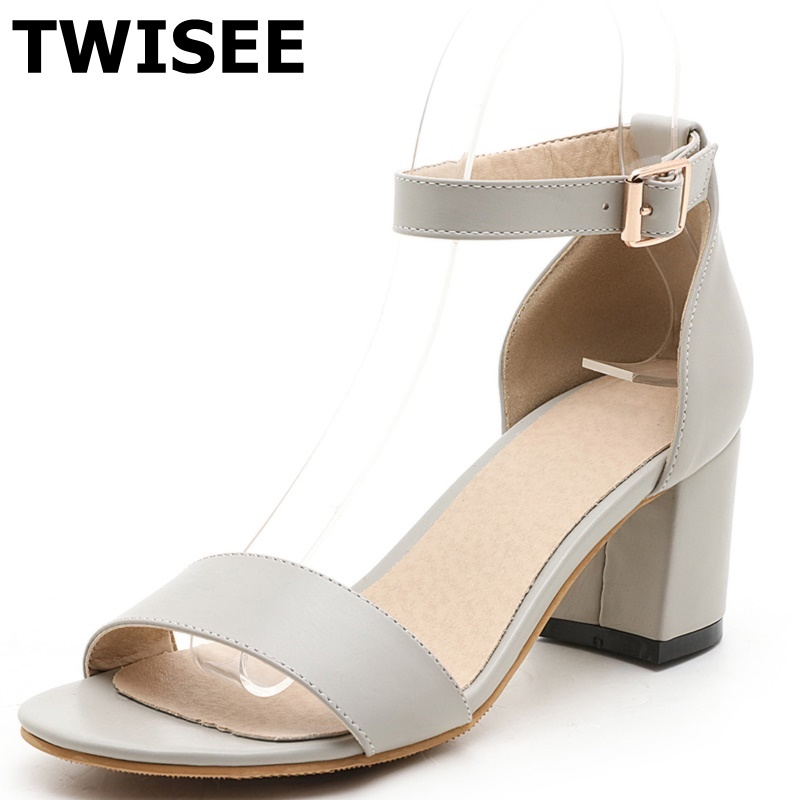 ФОТО med heels 5.5 cm ladies women shoes sandals Comfortable pu leather Buckle Strap Classics red black woman wedding shoes