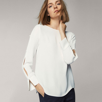 White Button Down Slit Sleeve O Neck Blouses For Women Ladies Stylish Basic Long Sleeve Round