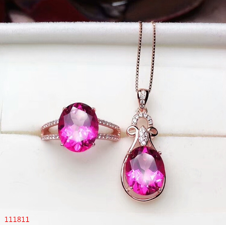KJJEAXCMY boutique jewels 925 pure silver inlaid natural pink topaz lady Ring + pendant support testKJJEAXCMY boutique jewels 925 pure silver inlaid natural pink topaz lady Ring + pendant support test