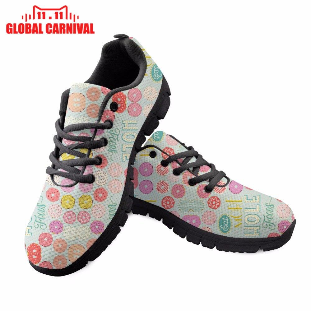 Manger plus de trou aliments conceptions complètes imprimer chaussures à lacets confortables pour les filles femmes chaussures Halloween noël cadeau Noisydesigns