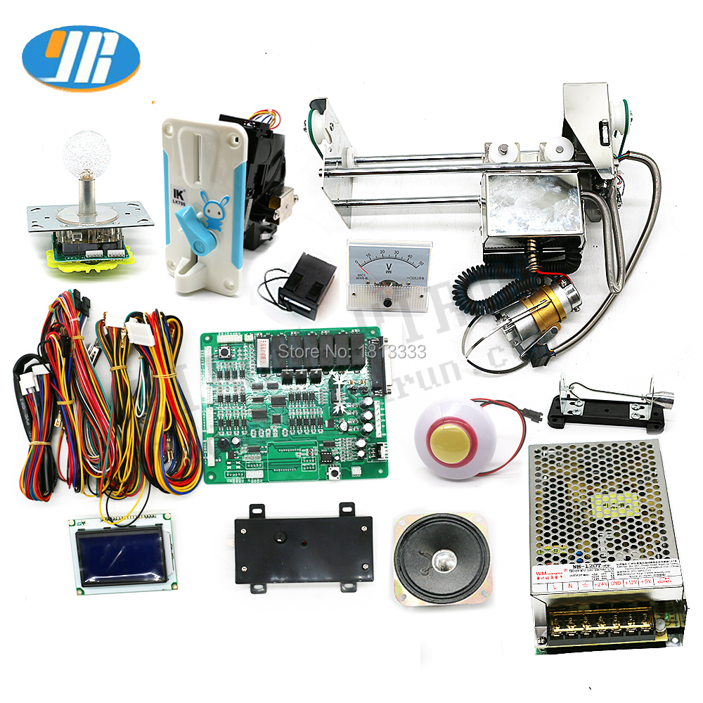 Mini Claw Crane Machine DIY Kit With Motherboard 28cm Gantry Power Supply Joystick LED Buttons Coin