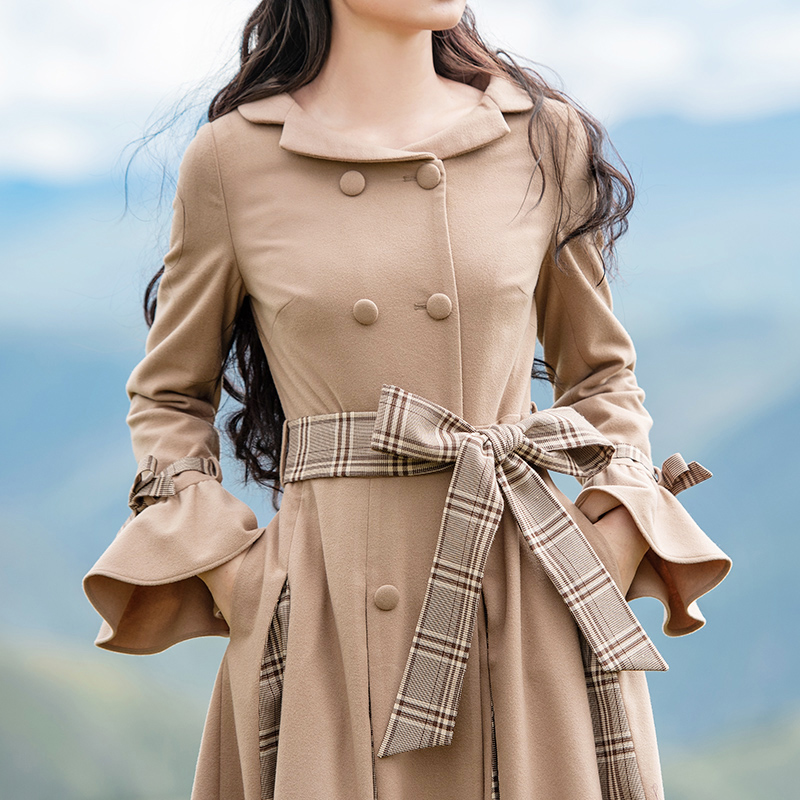 l Laine Gratuite De Livraison Pardessus Longue Boshow Breasted Ceinture Maxi Double Femmes Nouvelle Chaud 2019 S Avec Patchwork Plaid Trench D'hiver Twx1F8wd