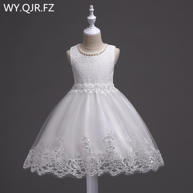 BH981#White Summer princess lace girl's gown children's pomp performance dance dress Ball Gown Flower Girl Dresses wholesale