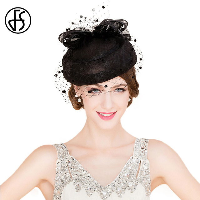 6750c75f US $49.99 |FS Classic Vintage Women Sinamay Pillbox Hat Church Fascinators  Black Ladies Linen Wedding Fedora With Veil Derby Party Hats-in Fedoras ...