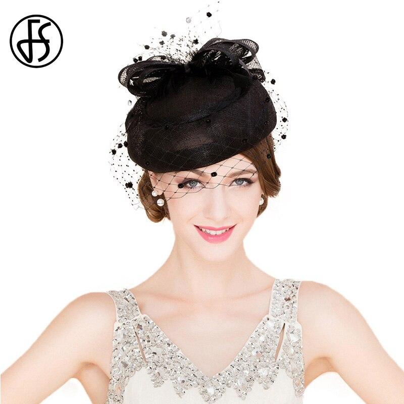 FS classique Vintage femmes Sinamay pilulier chapeau église fascinateurs noir dames lin mariage Fedora avec voile Derby fête chapeaux