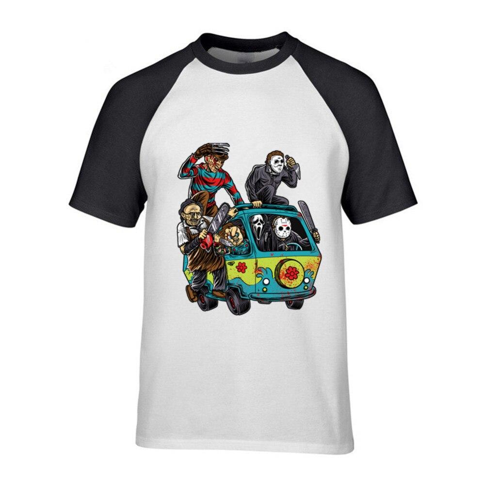 T Shirts Men The Massacre Machine Horror T-Shirt Chucky Jason Voorhees Michael Myers Tees Shirt Freddy Short Cotton Short Sleeve ...