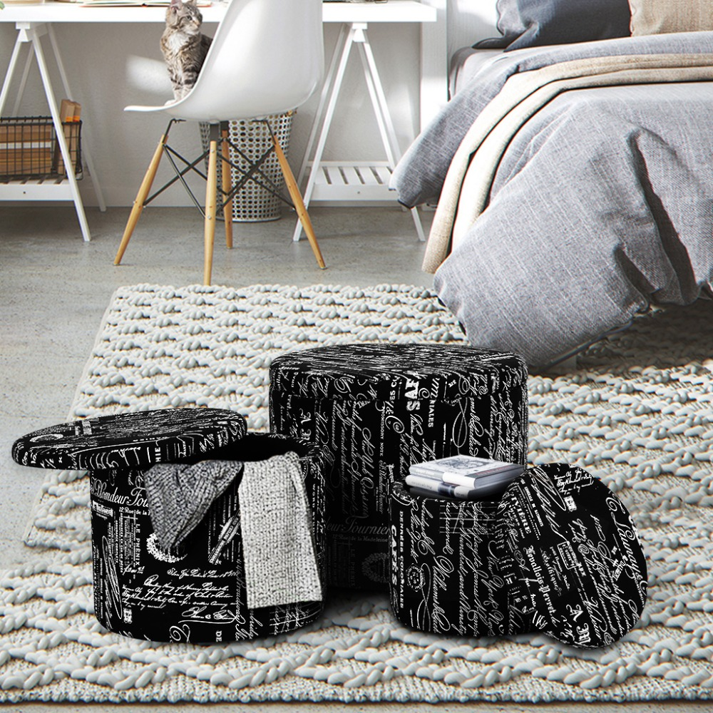 Admirable Langria 3 Piece Black Nesting Round French Script Patterned Caraccident5 Cool Chair Designs And Ideas Caraccident5Info