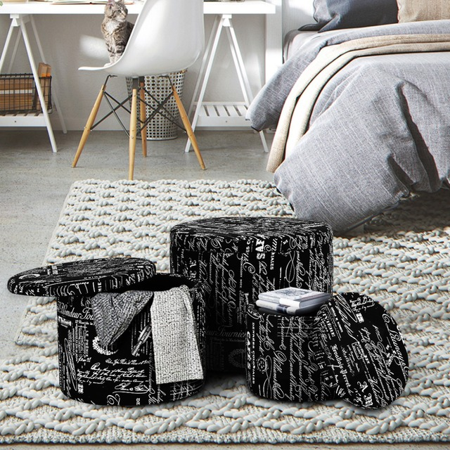 LANGRIA 3 Piece Black Nesting Round French Script Patterned Fabric Storage  Ottoman Set Saving Space
