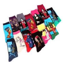 Здесь можно купить  Hot Spring New arrival style Retro Art Oil Painting men crew sock women socks cotton Men
