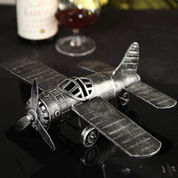 Vintage Metal Combat Airplane Miniature Model Steel Souvenir Handicraft Present Ornament For Room Decoration And Art