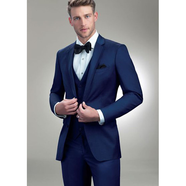 2017 Latest Coat Pant Designs Navy Blue Men Wedding Suits Groom Style Suit Slim Fit 3