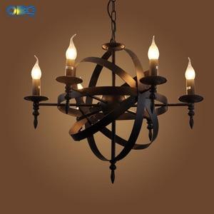 Image 2 - Vintage czarny świeca światła żelazna lampa wisząca jadalnia Mall oświetlenie cod wisiorek światła 1.2M E27 110 240V darmowa wysyłka