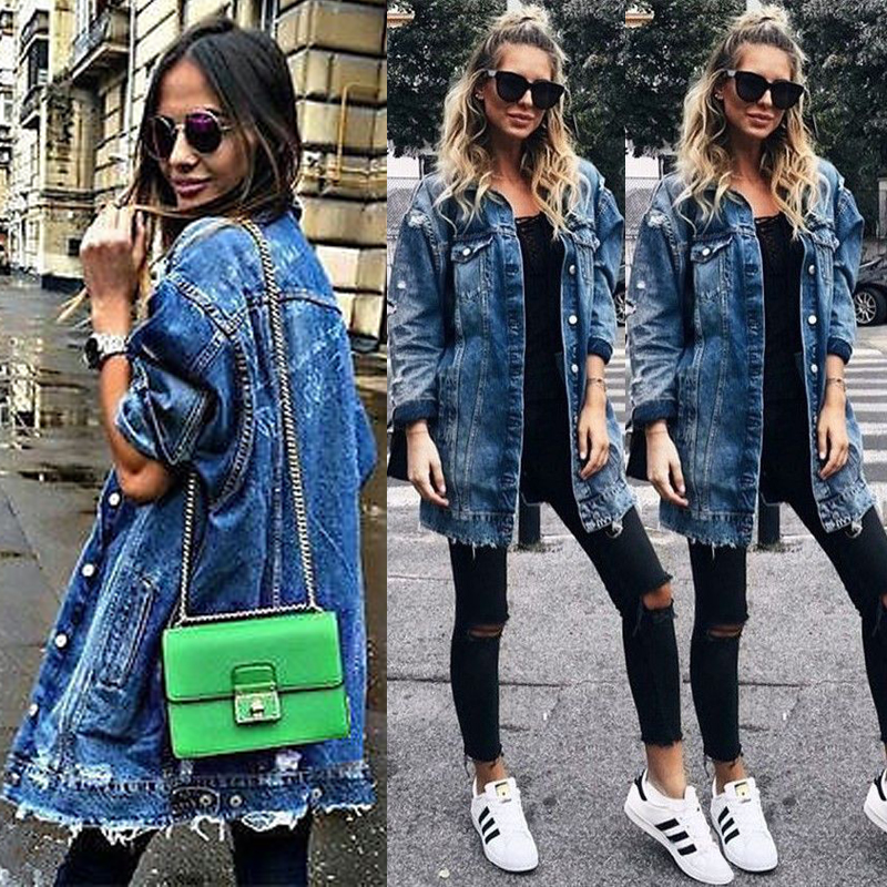 Women's Basic Coat Holes Baggy Denim Jacket Long Sleeve Loose Street Style Outwear Winter NEW