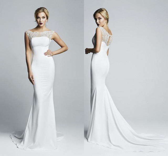 Diseño Simple 2017 White Wedding Vestidos de Sirena de la Trompeta Bateau Capped Sheer Volver Tren de la Corte de Manga Larga de Encaje Vestidos de Novia LX