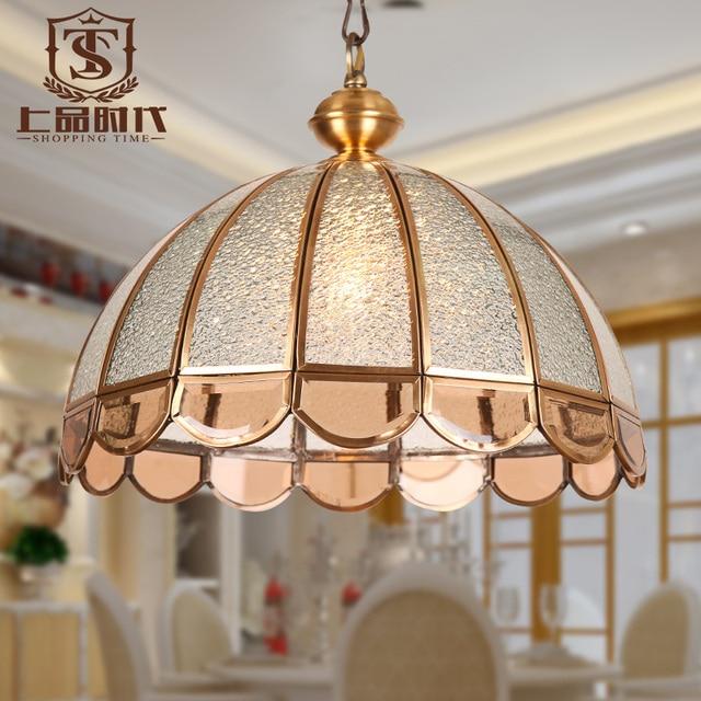 3c30c3eef9 Europeo colgante de cobre claro pantalla de vidrio E27 lámpara colgante  para el dormitorio comedor 1010
