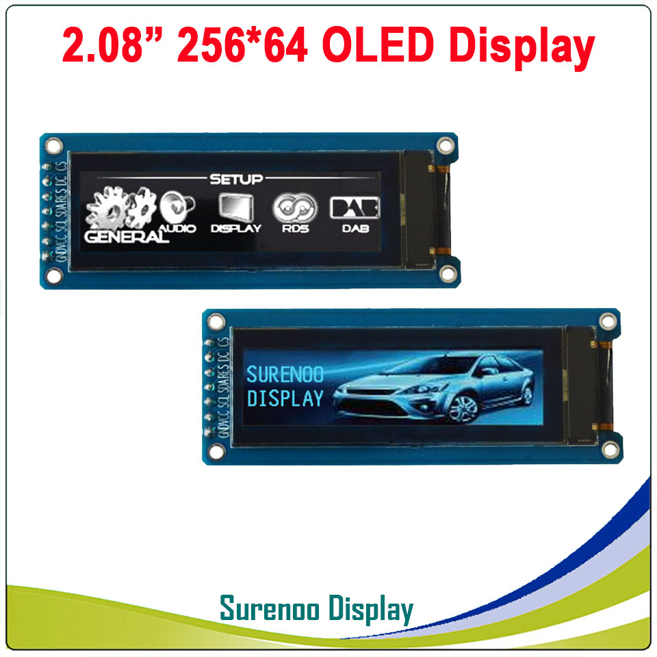 """Real OLED Display, 2.08"""" 256*64 25664 Graphic LCD Module Display Screen LCM Screen SH1122 Controller Support SPI / I2C IIC"""