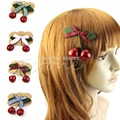 1pc Cherry Hair Clip New Popular Cute Women Girl Lady Retro Vintage Pink Bow Cherry Hair Clip Hairpin