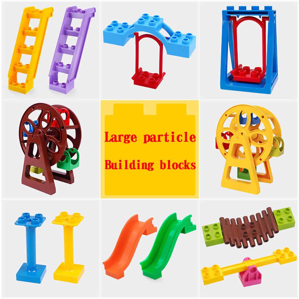 Legoing duploed las partículas grandes edificio grande bloques accesorios, puerta ventana paraguas Swing tobogán juguetes para niños y regalos de los niños