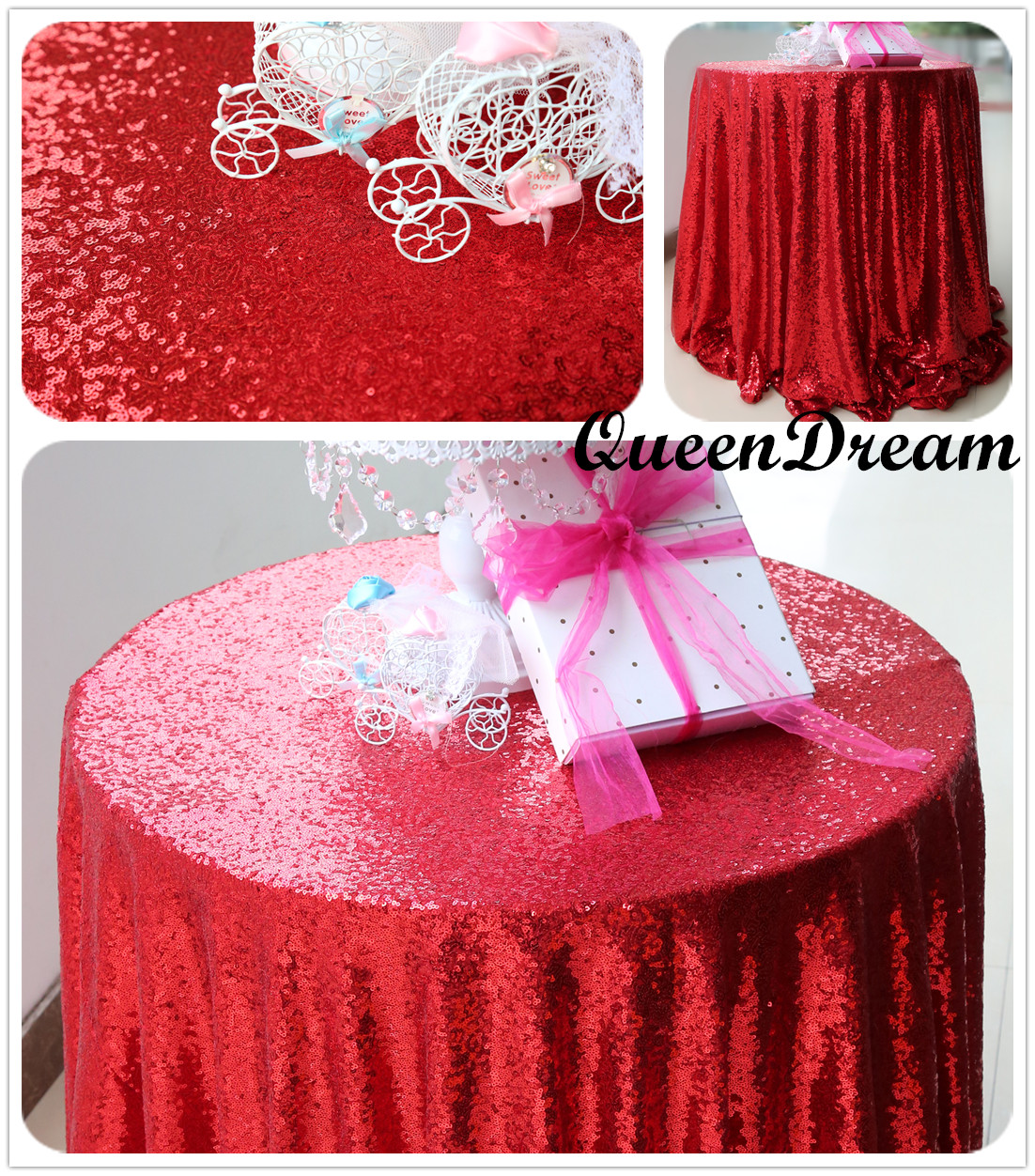 72u0027u0027 Round Red Sequin Tablecloth Glitz Sequined Table Linen