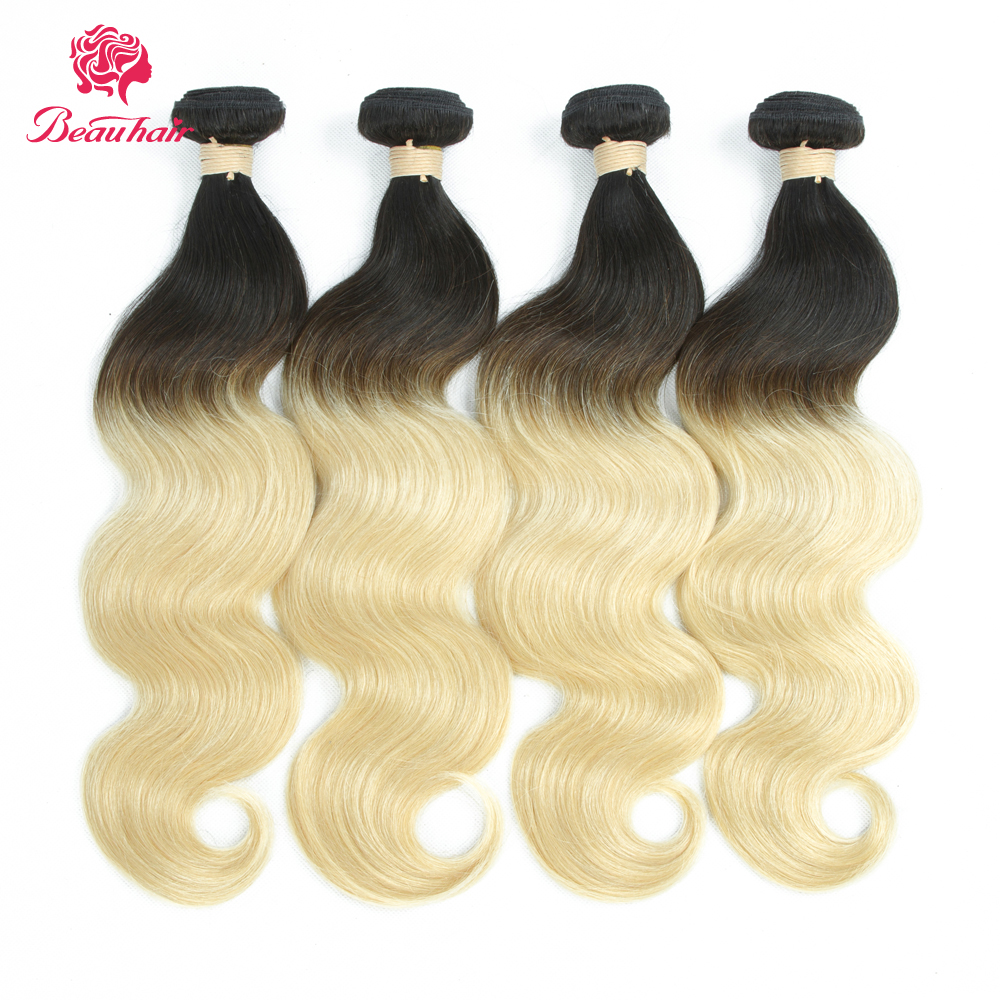 Beau Hair Ombre 1b 613 Dark Roots Blonde Brazilian Non Remy Hair Extension Body Wave 100% Human Hair Weave Bundles Double Wefts