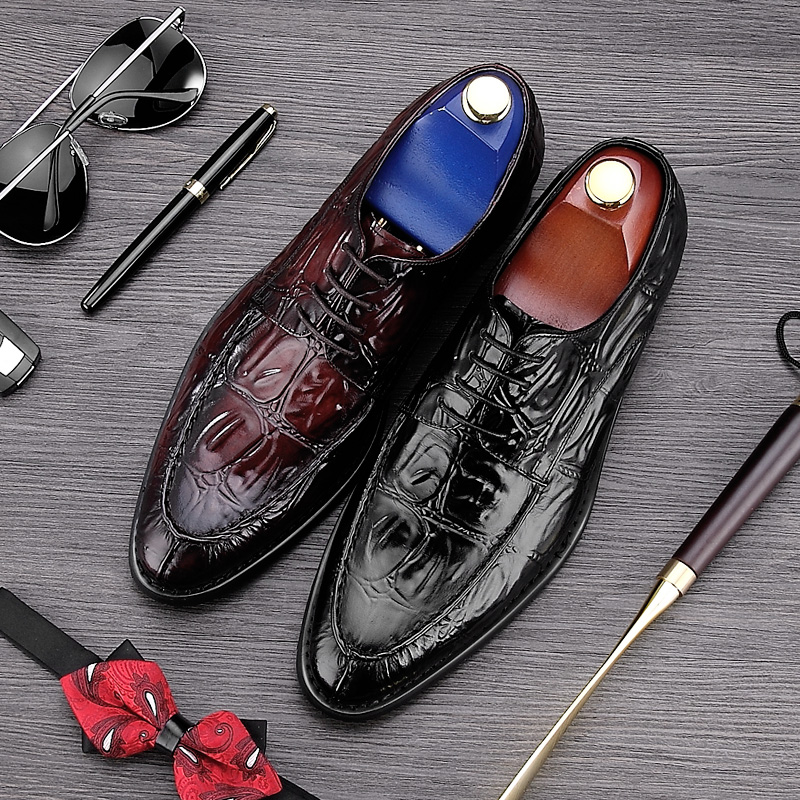 New Arrival Luxury Pointed Toe Laced Man Formal Dress Shoes Genuine Leather Alligator Prom Oxfords Mens Wedding Footwear NE86New Arrival Luxury Pointed Toe Laced Man Formal Dress Shoes Genuine Leather Alligator Prom Oxfords Mens Wedding Footwear NE86
