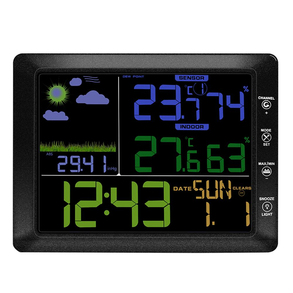 цена на Multifunctional Weather Station Barometer Thermometer Hygrometer Wireless Sensor LCD Weather Forecast Digital Alarm Clock