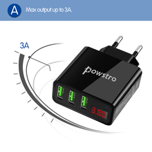 Powstro Universal 5V 3A 3 USB smartphone Charger Current Voltage Display Chargers For iPhone Samsung Xiaomi Huawei Mobile Phone
