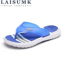 LAISUMK Man flip flops beach shoes 2019 New Fashion Summer Mens Casual Flat Slippers Men Beach Sandals Shoes Male Leisure