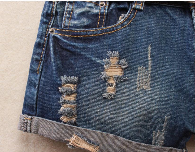 Women Sexy Mini Shorts Rivet Holes Jeans Low Waist Shorts Without Belt Ripped Denim Short 2