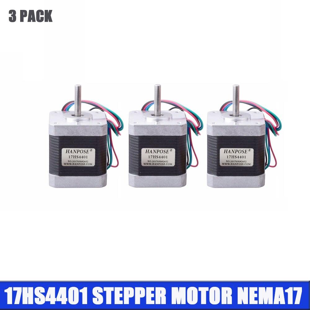 Frete Grátis 3pcs 4-chumbo Nema17 motor Nema Stepper Motor para impressora 3D 42 17 motor 42BYGH 42 1.7A (17HS4401) motor para CNC XYZ