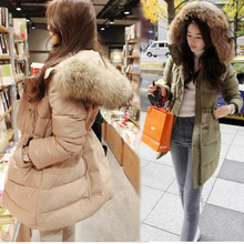 2015 Wide waisted Long Zipper Thick Full Sale New Winter Down Jacket Women Handsome Coat Parka