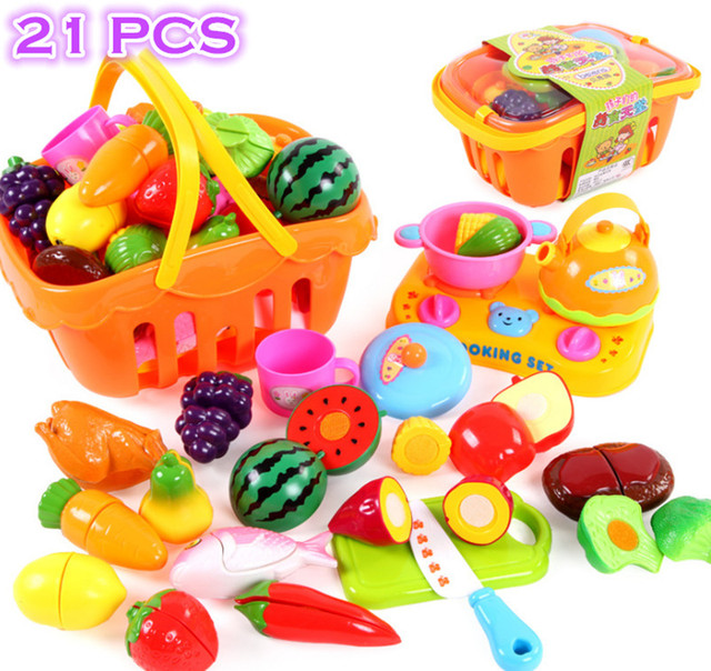 plastic kitchen food fruit vegetable cutting toys baby kid