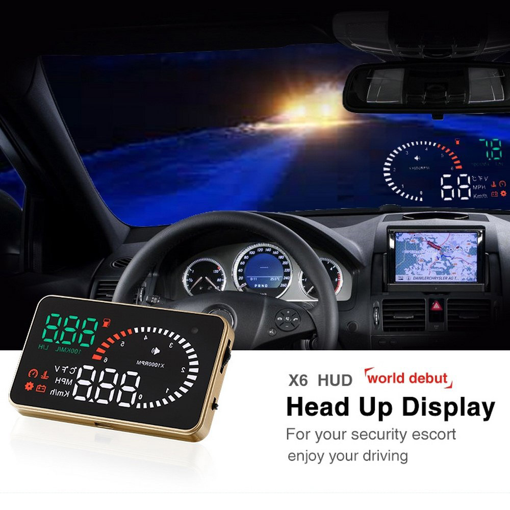 X6 Car Hud Head Up Display OBD 2 Digital Speedometer Overspeed Alarm OBD ii Auto Windshield Projector Car Electronics