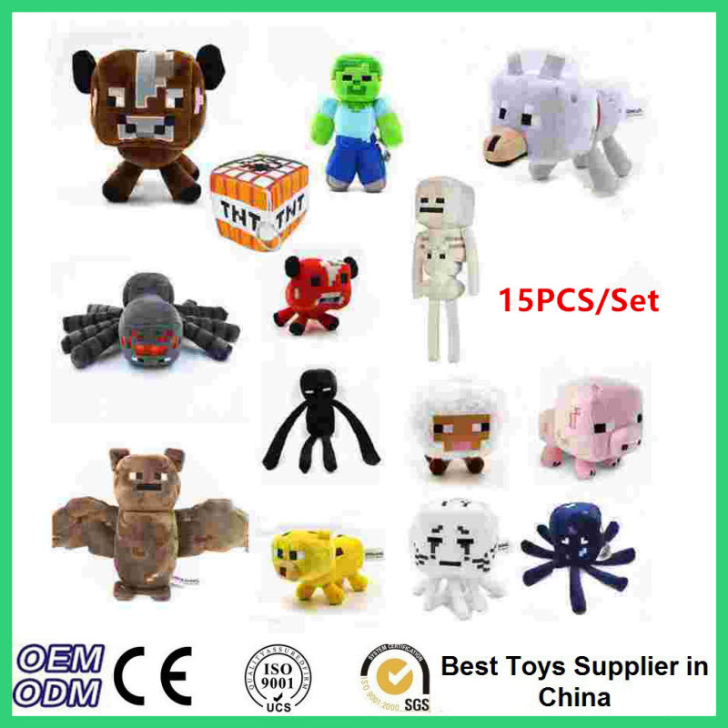 15 pcs set Minecraft Plush Toys Big Cartoon Game Sheep Enderman Wolf Squid Ghast Steve Minecraft